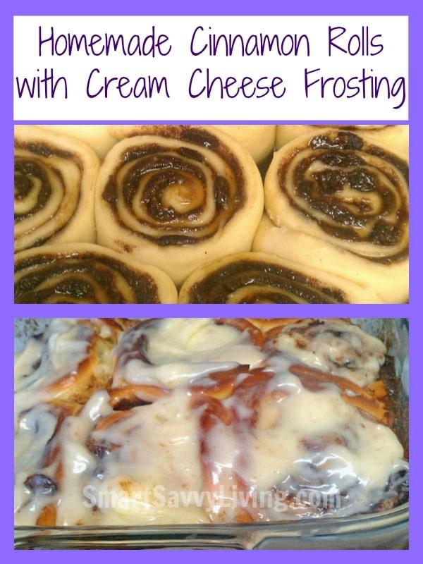 Homemade Cinnamon Rolls with Cream Cheese Frosting Recipe | SmartSavvyLiving.com