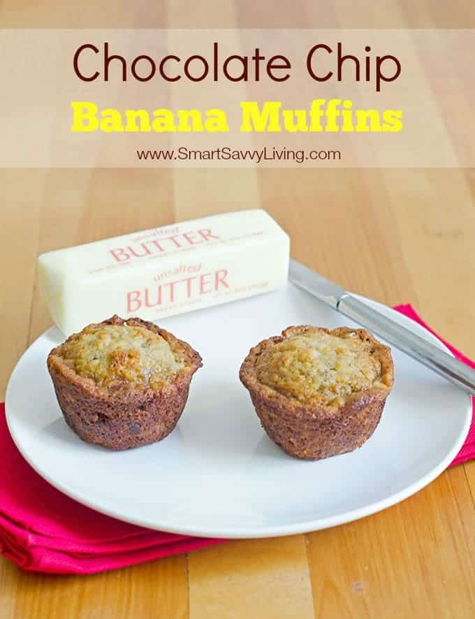 Chocolate Chip Banana Muffins Recipe | SmartSavvyLiving.com