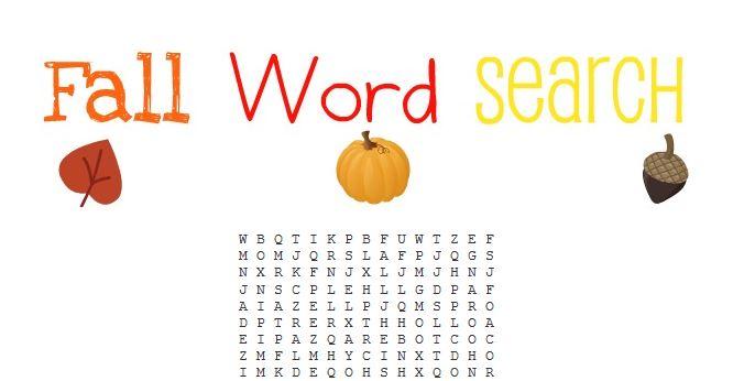 Free Printable Fall Word Search