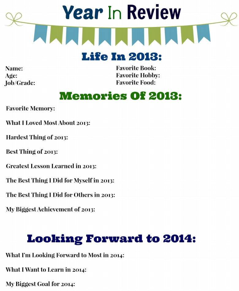 Free Printable - 2013 Year in Review