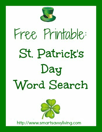 Free Printable St. Patrick's Day Word Search | SmartSavvyLiving.com