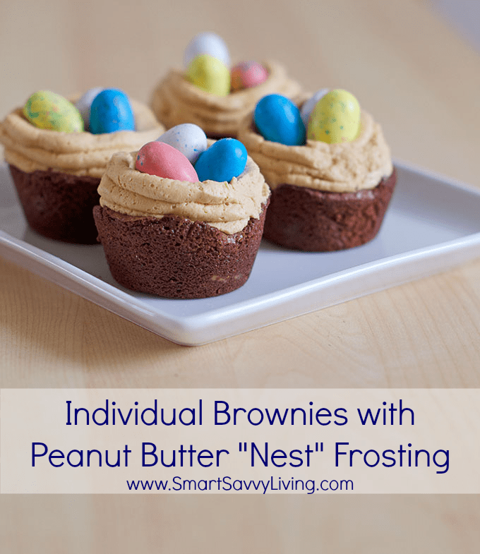 "Individual Brownies with Peanut Butter ""Bird's Nest"" Frosting Recipe 