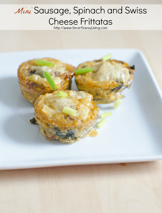 Mini Sausage, Spinach and Swiss Cheese Frittatas Recipe | SmartSavvyLiving.com