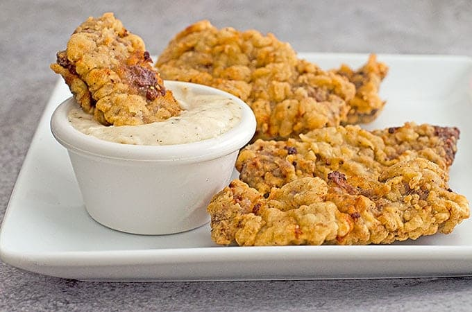 Chicken Fried Steak Fingers Recipe with Cream Gravy