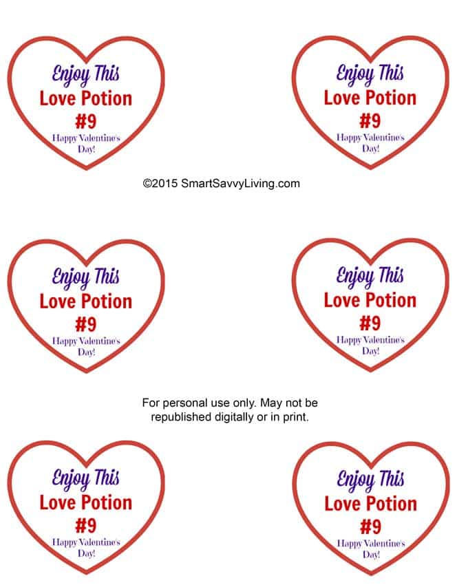 Free Printable Love Potion #9 Adult Valentines