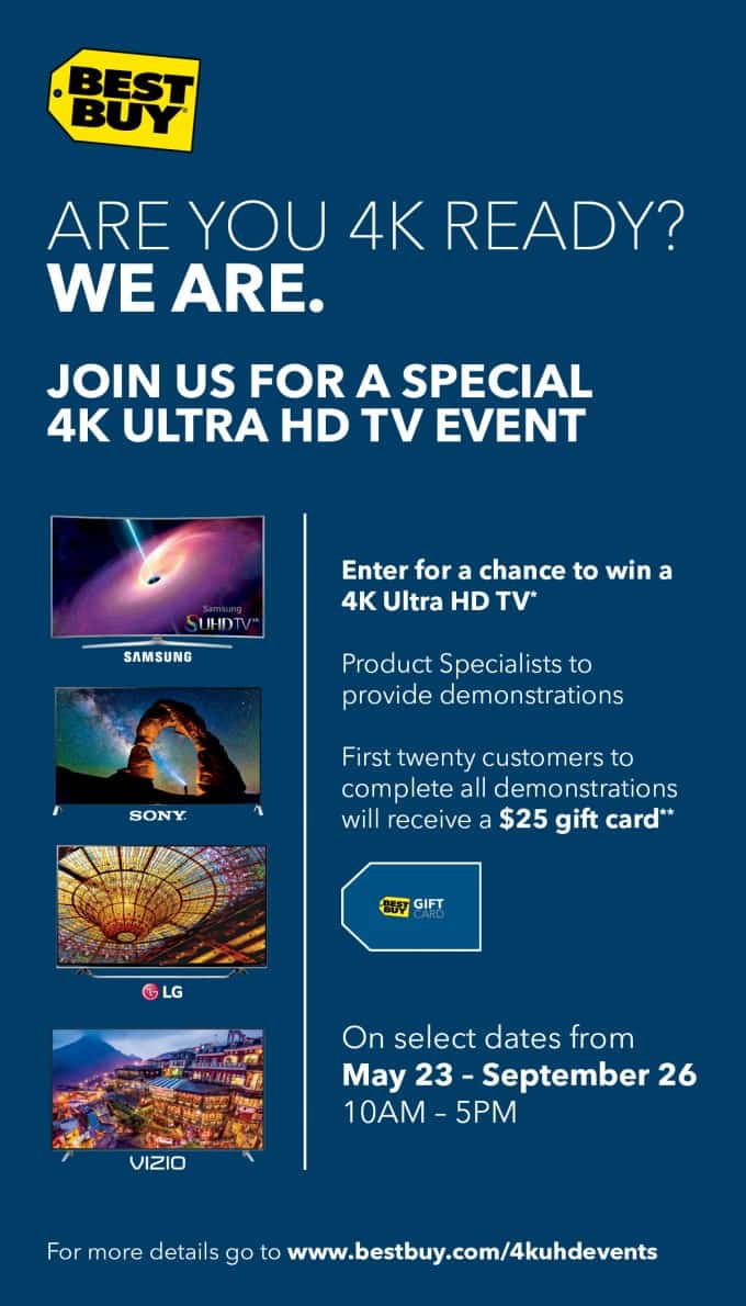 Enter to Win a Big Screen TV During the Best Buy 4K Ultra HD TV Event