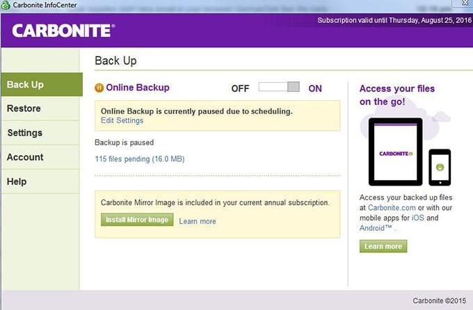 Carbonite screenshot