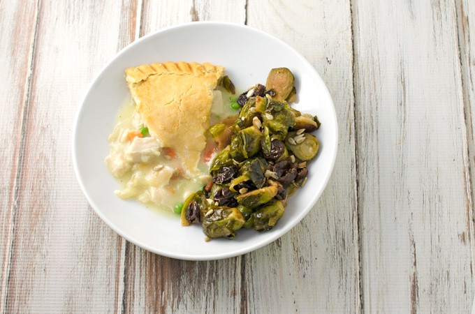 Cherry-Bacon-Brussels-Sprouts-Recipe-with-Marie-Callender's-Chicken-Pot-Pie-Plated