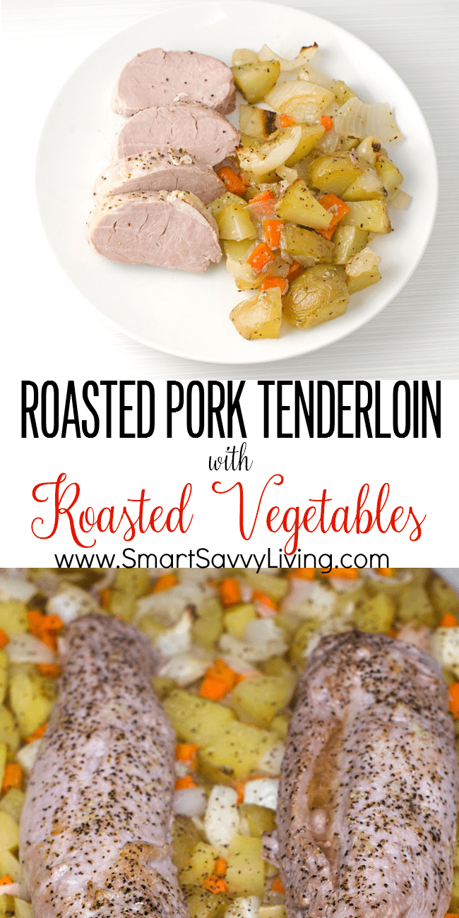 Pork Tenderloin with Roasted Vegetables Recipe | I love this pork tenderloin recipe for easy weeknight dinners! It has little prep and cooks your meat and veggies all in the same pan in under an hour.