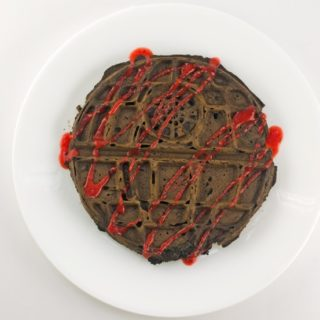 Chocolate-Death-Star-Waffles-With-Strawberry-Sauce-Recipe---Waffle-with-sauce