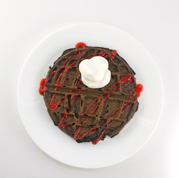 Chocolate Death Star Waffles With Strawberry Sauce Recipe