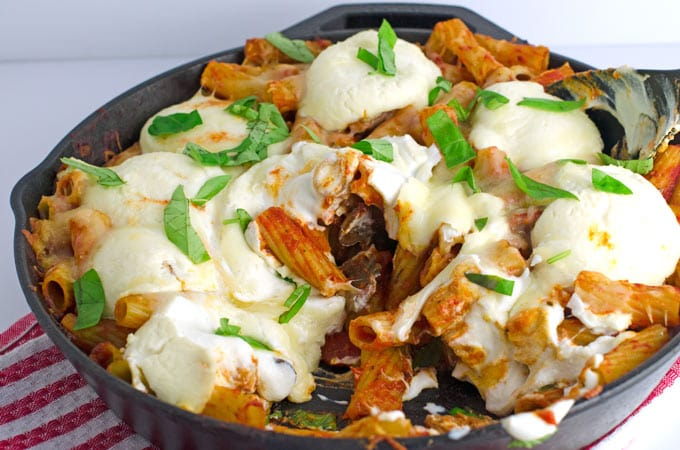 Cheesy Rigatoni With Sausage and Mushrooms Recipe
