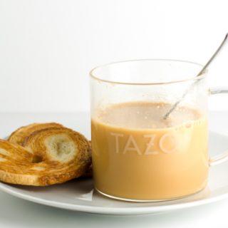 TAZO Vanilla Caramel Chai Latte plated