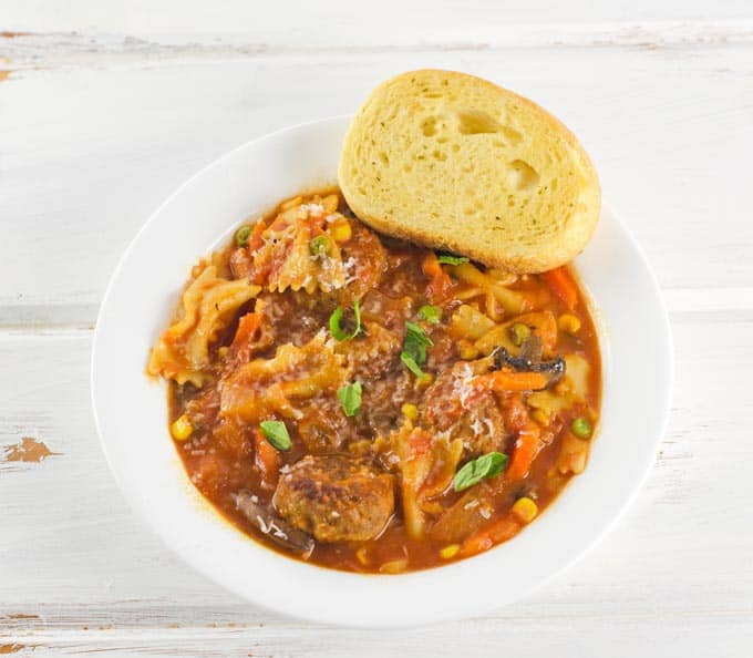 Meatball And Vegetable Soup With Pasta Recipe
