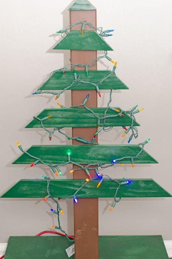 diy wood christmas tree lights on - Diy Wooden Christmas Tree