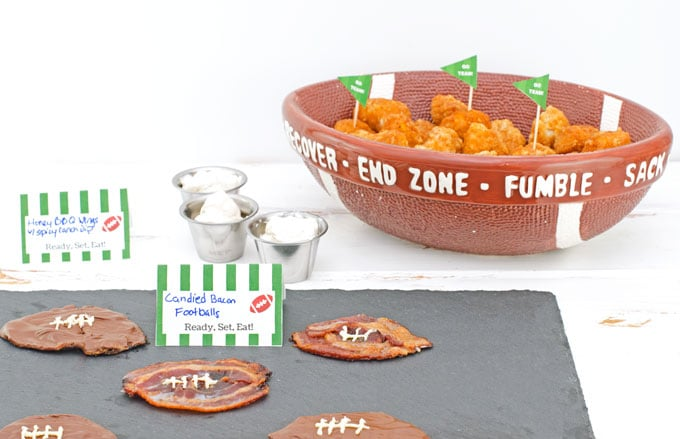 Candied Bacon Footballs Recipe - tablescape of game day recipes including bacon footballs, ranch dip, and boneless chicken wings