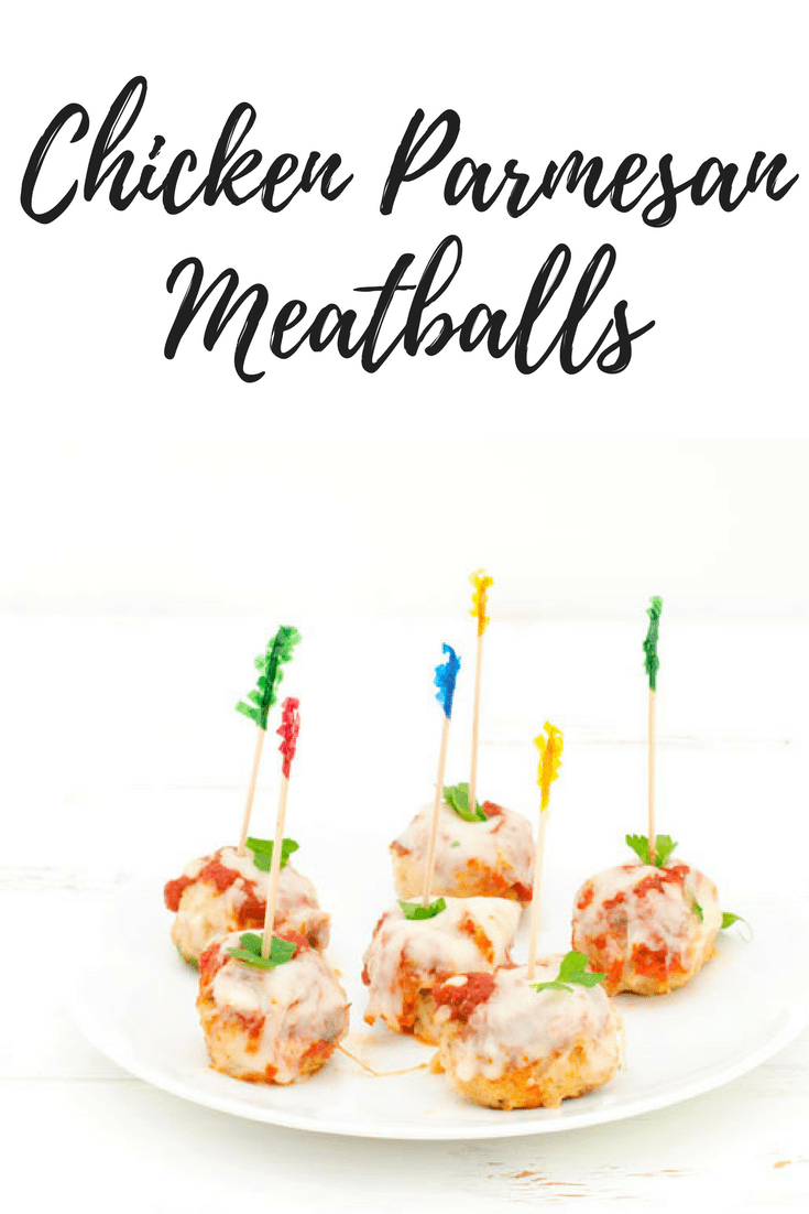 Chicken Parmesan Meatballs Recipe pinterest image