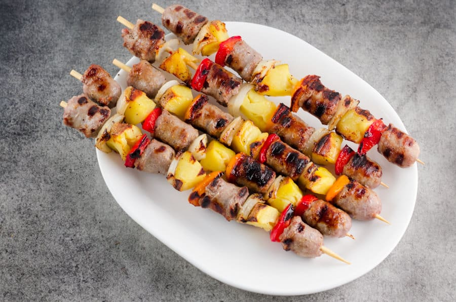 Bratwurst Kebabs Recipe With Potatoes and Peppers
