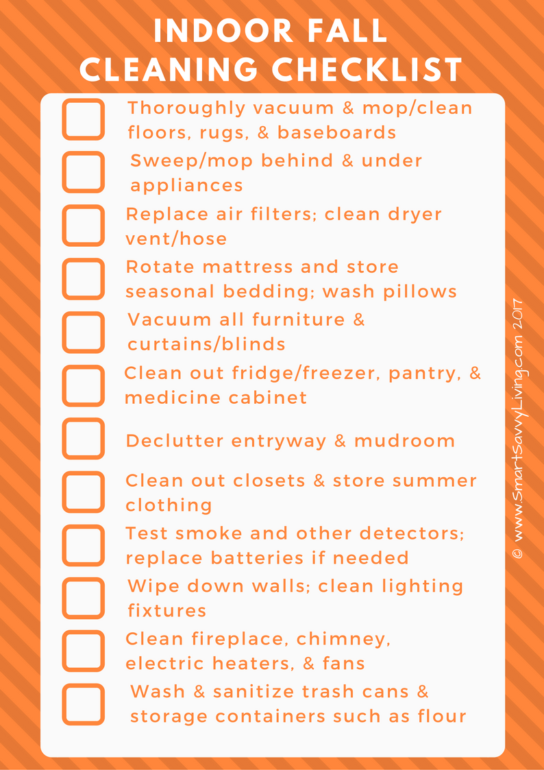 Free Printable Indoor Fall Cleaning Checklist 1