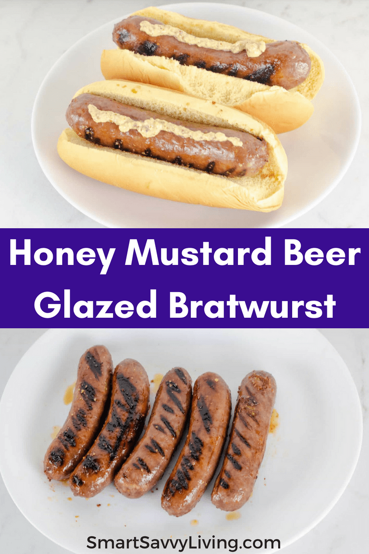 Honey Mustard Beer Glazed Bratwurst Recipe - An easy grilling recipe to take your favorite brats to the next level!  #grilling #grillingrecipes #brats #easygrillingrecipes #dinner #grill